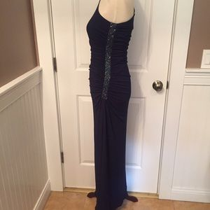 LAUNDRY SHELLI SEGAL DRESS MAXI BLUE 1 SHOULDER 4